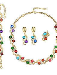 Elegant Colorful Necklace Bracelet Earrings Rings Rhinestone Jewelry Set