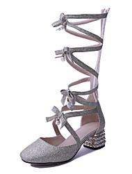 Women's Shoes Heel Heels / Round Toe Sandals / Heels Outdoor / Dress / Casual Black / Gold/6919
