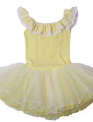 Ballet Dresses Children's Performance Cotton / Spandex Cascading Ruffle / Lace / Pattern/Print 1 Piece Yellow