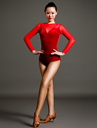High-quality Velvet and Tulle with Pleated Latin Dance Leotards for Women's Performance (More Colors)