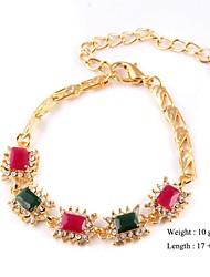 European Style Elegant Square Shape Chain Bracelet Gold Plated