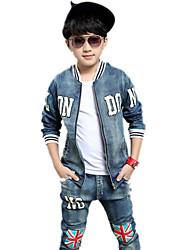 Boy's Polyester  Medium Fashion Cotton Blend Denim The Union Flag 2 Pieces Clothing  Suit