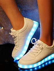 FemininoConforto Light Up Shoes-Rasteiro-Preto Branco-Sintético-Ar-Livre Casual Para Esporte Festas & Noite
