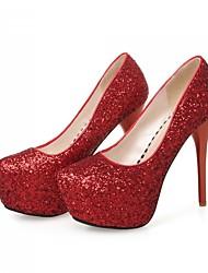Women's Shoes Glitter / Customized Materials Stiletto Heel Heels Heels Wedding / Party & Evening / Red / Silver / Gold