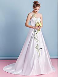 Lanting A-line Wedding Dress - Ivory Chapel Train Jewel Satin