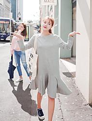 O estilo de mulheres coreanas casual / dia / vestido solto sólida simples, em torno do pescoço acima do joelho algodão