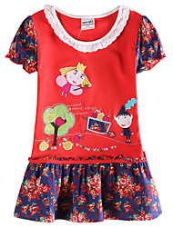 Girl's Summer Short Sleeve New 2016 Children Dresses(Random Printed)