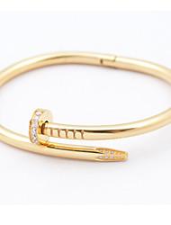Pulseiras Bracelete Aço Inoxidável Formato Oval Fashion Casamento / Pesta / Diário / Casual Jóias Dom Dourado / Cor de Rosa / Prateado,1pç