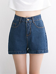 Women's Solid Blue Cotton Loose Washed Demin Short Pant , Casual / Day