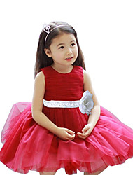 Girl's Red Sleeveless Evening Patry Dress / Clothing Set , Dresswear Cotton / Polyester All Seasons or 3 Month ~7 Years