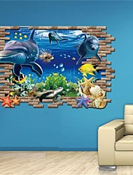 New Special Design 3D Effect Underwater World Dolphin Turtles Background Fashion Wall Stickers Home Decor Decoration