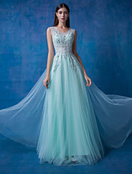 Formal Evening Dress - Sage / Ocean Blue Ball Gown Scoop Floor-length Lace / Tulle / Sequined