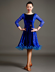 High-quality Velvet and Lace Draped Latin Dance Dresses for Women's Performance(More Colors)