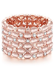 Fashion Generous Opal Jewel Gold-Plated Bangles(Rose Gold)(1 Pc)