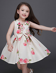 Girl's Beige Dress , Floral / Bow / Dresswear Polyester Summer