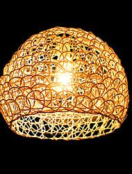 25*18CM Modern Rural Cany Art Woven Rattan Restaurant Single Head Droplight Lamp LED