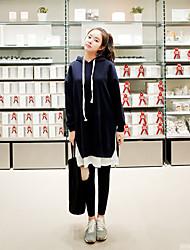 casual / dia / mudança vestido estilo coreano das mulheres simples sólida, encapuzados acima de algodão joelho