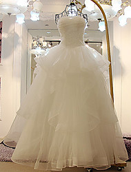 A-line Wedding Dress - Ivory Floor-length Strapless Tulle