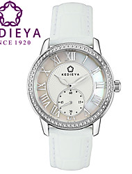 KEDIEYA Brand Women Watches Luxury Italy Leather 60pcs Rhinestones Roman Vintage Style Small Dial White Silver Watch Cool Watches Unique Watches
