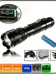 High Power LED Flashlights/Torch Cree Xm-l t6 LED 5 Mode 1000 lumens / Waterproof / Rechargeable/ Clip