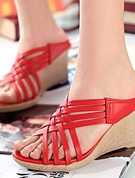 Women's Shoes Leatherette Wedge Heel Wedges Clogs & Mules Dress / Casual Yellow / Green / Red / Beige
