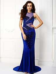 Formal Evening Dress - Royal Blue Plus Sizes / Petite Trumpet/Mermaid Jewel Court Train Velvet