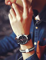 Casal Relógio Esportivo Quartz PU Banda Relógio de Pulso Preta / Marrom