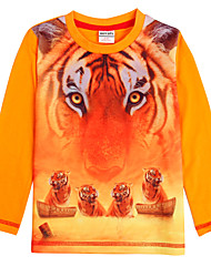 Boy's Cartoon T shirt Long Sleeve Tiger Print Children Tees(Random Print)