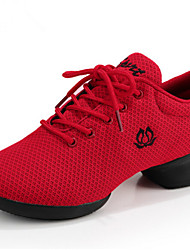 Women's Dance Shoes Sneakers Breathable Synthetic Low Heel Black/White/Red