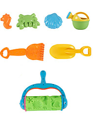 7-Pieces Beach Sand Toys Set with Sand Roll, Water Pot, Sand Shovel, Sand Rake and 3 Models