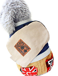 Dog Jumpsuit Red / Blue / Yellow Winter American/USA / Letter & Number Fashion