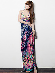 Women's Simple Print Shift Dress , V Neck Maxi Polyester