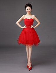 Knee-length Tulle Bridesmaid Dress - A-line Sweetheart with Bow(s)