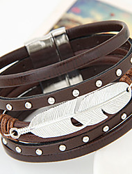 Women's New Fashion Charm Rivets Feather Leaf Leather Width Bangle Bracelet