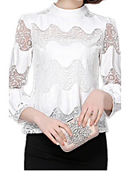 Spring Women's Stand Collar Lantern Sleeve  OL Work Casual Chiffon Lace Blouse Shirt