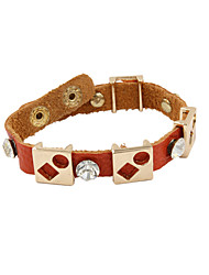 Fashion Women Trendy Stone Set Geometric Metal Beads Decorated Orange Leather Bracelet