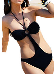 Bikinis Aux femmes Couleur Pleine Une-Pièce Licou Polyester