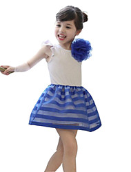 Girl's Black / Blue / Red Dress,Striped Cotton / Polyester Summer