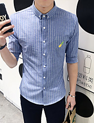 Men's Short Sleeve Shirt , Cotton Casual Striped