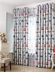 Dos Paneles Campestre / Moderna / Neoclasicismo / Mediterráneo / Europeo Caricatura Beige / Azul Dormitorio PoliésterBlackout cortinas