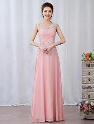 Prom / Formal Evening Dress A-line Jewel Floor-length Chiffon / Lace with Appliques / Beading / Flower(s)