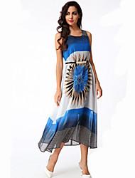 Women's Boho / Beach Floral Swing Dress , Round Neck Midi Polyester