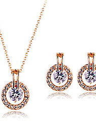May Polly New zircon necklace and Earrings Set