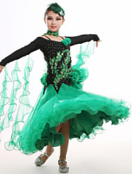 High-quality Spandex and Tulle with Appliques and Rhinestones and Handmade Flowers Kids' Dancewear Dresses(More Colors)