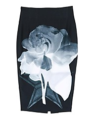 Women's Floral Black Skirts Knee-length