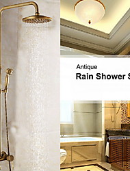 8 Inch Antique Brass In Wall Shower Set with Shower Head and Hand Shower