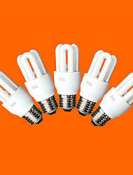 5 pcs fsl® e26 / e27 t3 3u 8w 300lm 6500K ampoules fluocompactes lumière blanche froide (AC220V)