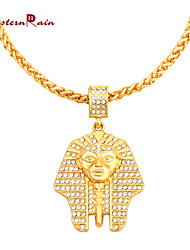 Westernrain mens pharaohs hip hop jewelry fashion gold plated Egypt Pharaoh Portrait long pendant Necklace