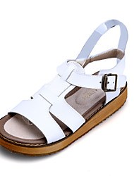 Girls' Shoes Dress / Casual Slingback / Comfort / Open Toe Leather Sandals Black / White / Silver