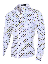 Men's Long Sleeve Solid Fit Polka Dot Dress Shirt,Cotton / Polyester Work / Formal Solid